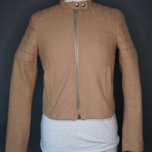 Moto Biker Wool Blend Zip Tan Quilted Cropped Jack